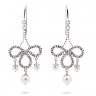 Fresh Water Pearl Lace Bow Chandalier Earrings