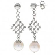Fresh Water Pearl Elegant Lace Earrings