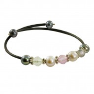 Grey and Black FW Pearl and Amethyst Bangle