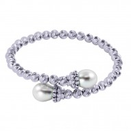 Fresh Water Pearl and Silver Brilliance Beaded Bangle