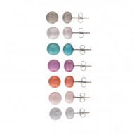 7 Set Multi color Pearl Stud Earrings
