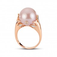 Pink Fresh Water Pearl and diamond Ring