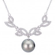 Black Pearl and Diamond Fashion Necklace