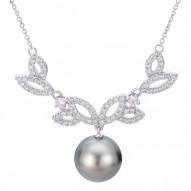 Black Pearl and Diamond Fashion Necklace