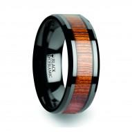 ACACIA Koa Wood Inlaid Black Ceramic Ring with Bevels - 4 mm - 12 mm