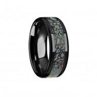PERMIAN Blue Dinosaur Bone Inlaid Black Ceramic Beveled Edged Ring - 4mm & 8mm
