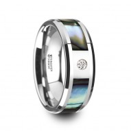 HONOLULU Mother of Pearl Inlay Tungsten Carbide Ring with Beveled Edges and White Diamond - 8mm