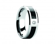 CAYMAN Tungsten Carbide Ring with Black Carbon Fiber and White Diamond Setting with Bevels - 8mm