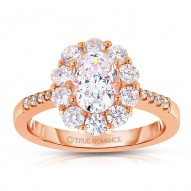 Ct180-14k Rose Gold Oval Cut Halo Diamond Engagement Ring