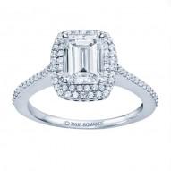 14k White Gold Emerald Cut Double Halo Diamond Engagement Ring