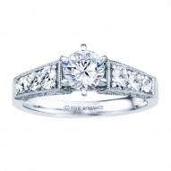 Rm1120-14k White Gold Vintage Engagement Ring