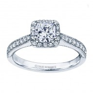 Rm1271-14k White Gold Princess Cut Halo Diamond Engagement Ring