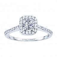 Rm1301p-14k White Gold Princess Cut Halo Diamond Engagement Ring