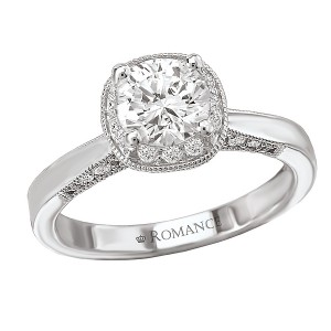 Round Halo Semi-Mount Diamond Ring