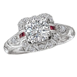 Ruby and Diamond Semi-Mount Ring