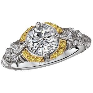 Two Tone Semi-Mount Diamond Ring