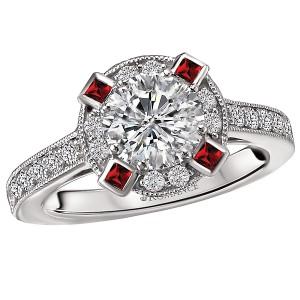 Ruby and Diamond Semi-Mount Ring