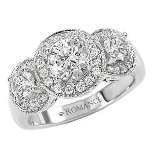 Triple Halo Semi-Mount Diamond Ring