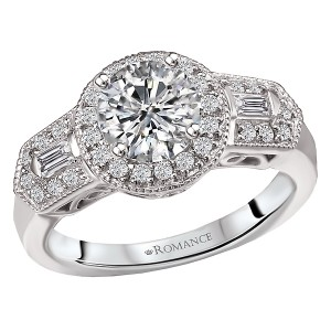 Round Halo Semi-Mount Diamond Ring