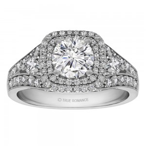 Round Cut Double Halo Diamond Vintage Engagement Ring