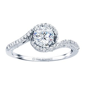 Rm1159-14k White Gold Vintage Engagement Ring