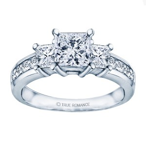 Rm1193 -14k White Gold Classic Engagement Ring