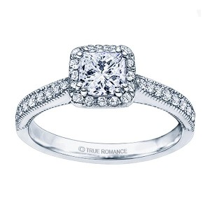 Rm1271-14k White Gold Princess Cut Halo Diamond Engagement Ring