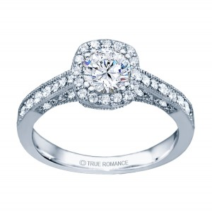 Rm1319r -14k White Gold Round Cut Halo Diamond Vintage Engagement Ring