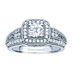 Rm1377-14k White Gold Vintage Engagement Ring