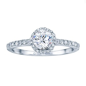 Rm1408-14k White Gold Round Cut Halo Diamond Engagement Ring