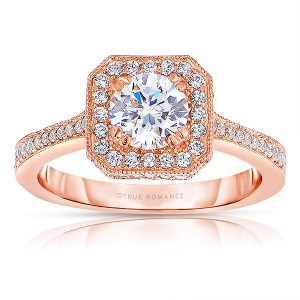 Rm1414r-14k Rose Gold Round Cut Halo Diamond Engagement Ring