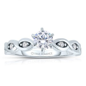 Rm1439 -14k White Gold Round Cut Diamond Infinity Engagement Ring