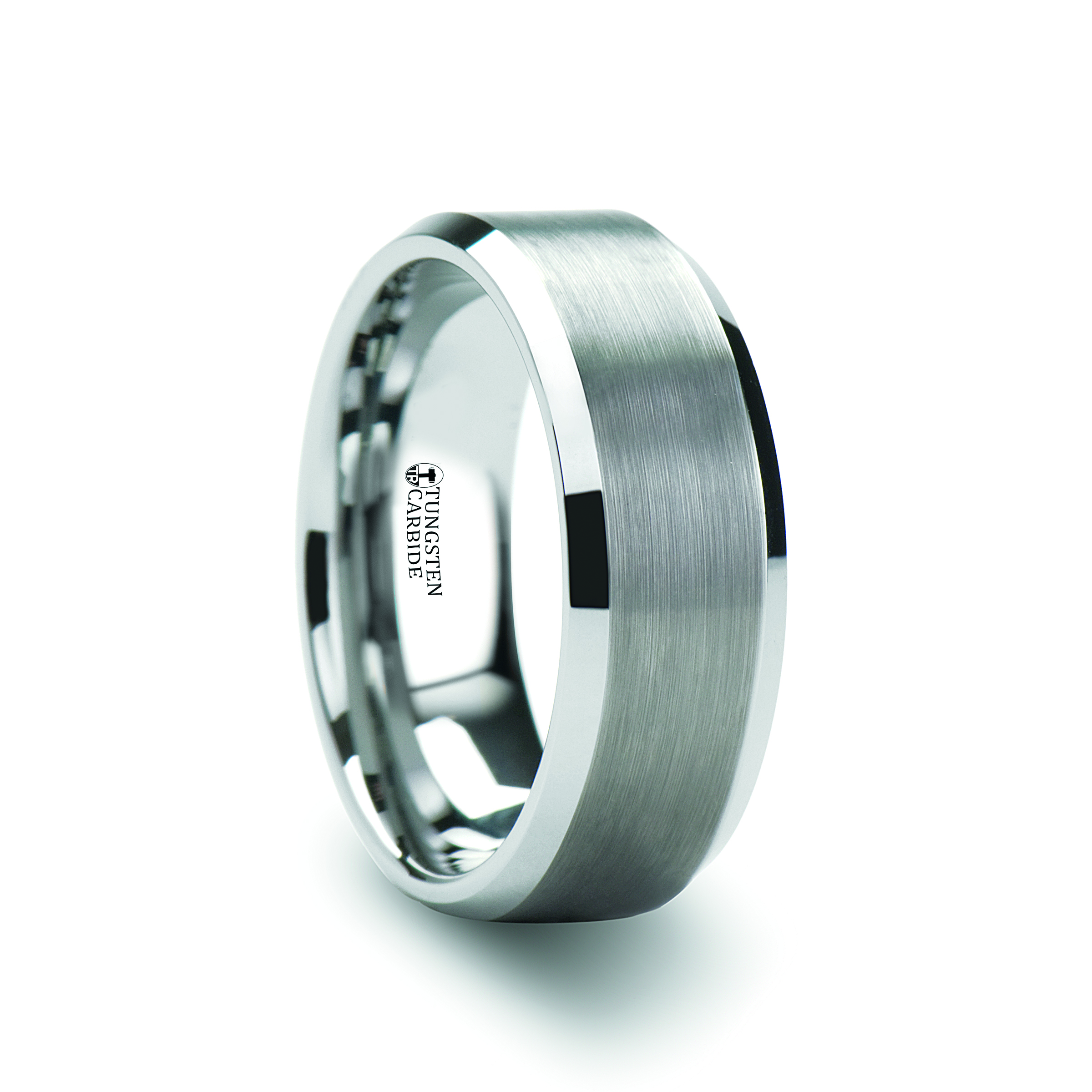 with sheffield beveled center brushed tungsten thorsten rings white carbide ring
